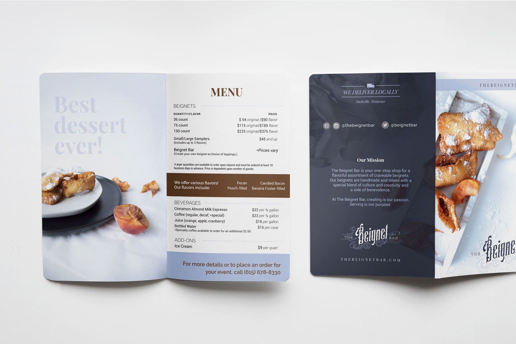 The Beignet Bar Brochure designed by Hire Henri Creative in Chicago Illinois