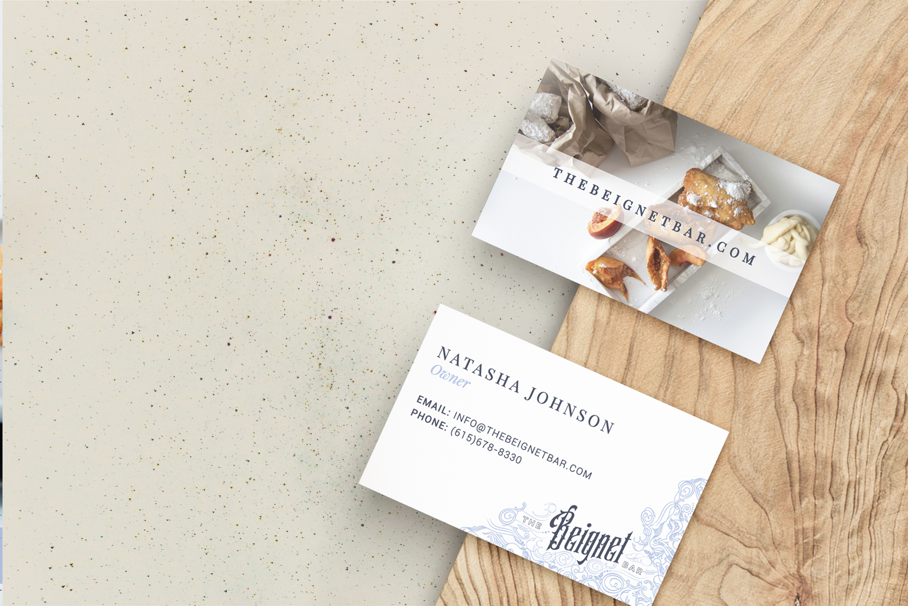 The Beignet Bar Business Card designed by Hire Henri Creative in Chicago Illinois