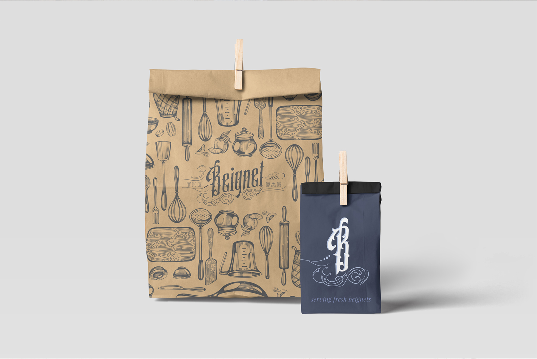 Packaging for The Beignet Bar designed by Hire Henri Creative in Chicago Illinois